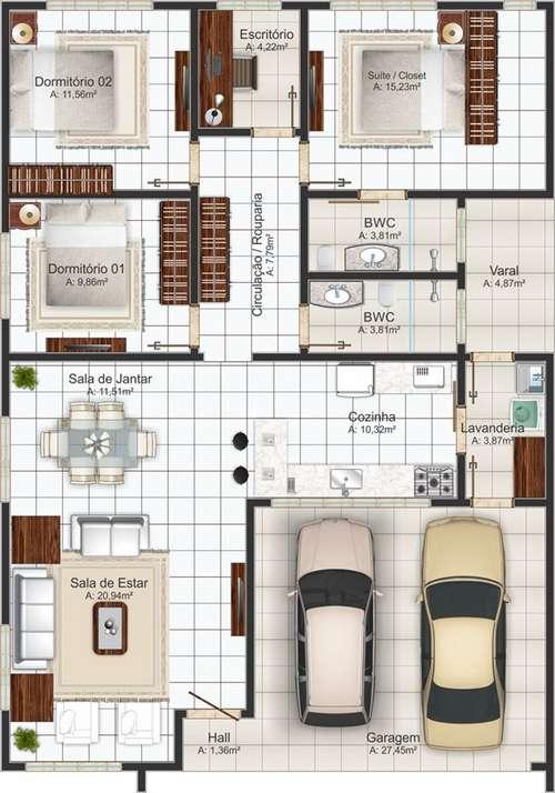 Planta terrea com 3 quartos e 2 vagas na garagem.